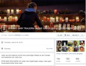 """Auch skrupellose Seitenbetreiber bei Facebook nutzten die Trauer, um für ihre Veranstaltungen möglichst viele Teilnehmer zu mobilisieren. Inzwischen 37.000 Personen nehmen am Event von """"Kifferfakten"""" teil."""