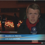 Markus Preiss (ARD) during a live broadcast from Haltern.